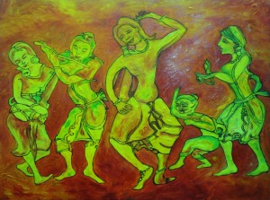 Pyu entertainers 45X60 oil on canvas
