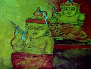 Two Deities: Son is one month older than his father 60X45 cm oil on canvas 2012